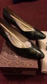 Renatta ladies blue crocodile print shoes 38.5 boxes