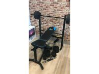 Men's Health Adjustable Folding Bench Press & Preacher with 20kg Weights