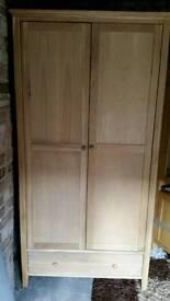 Solid oak double wardrobe