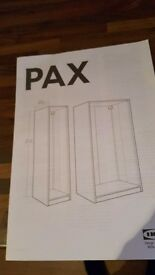 Ikea pax single wardrobes with mirroted doors x 2 one whiyr one beech