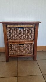 Small wood chest with wicker drawers