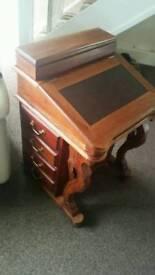 Solid oak wood bureau