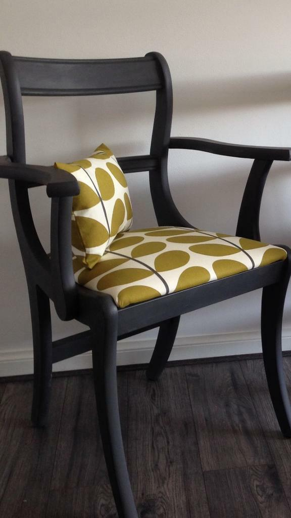 Two Grey Carver Chairs Cushions In Orla Kiely Fabric