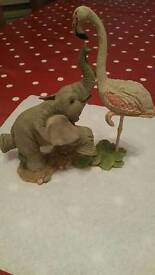 BABY ELEPHANT AND FLAMINGO ORNAMENT.