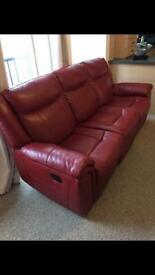 Sofas Recliner beautiful reddish leather sofas £1200
