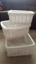 Set of 3 white Rattan baskets - stackable.