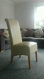 Cream dining chairs x6