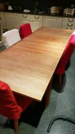 Solid wood extendable dining table plus 6 chairs