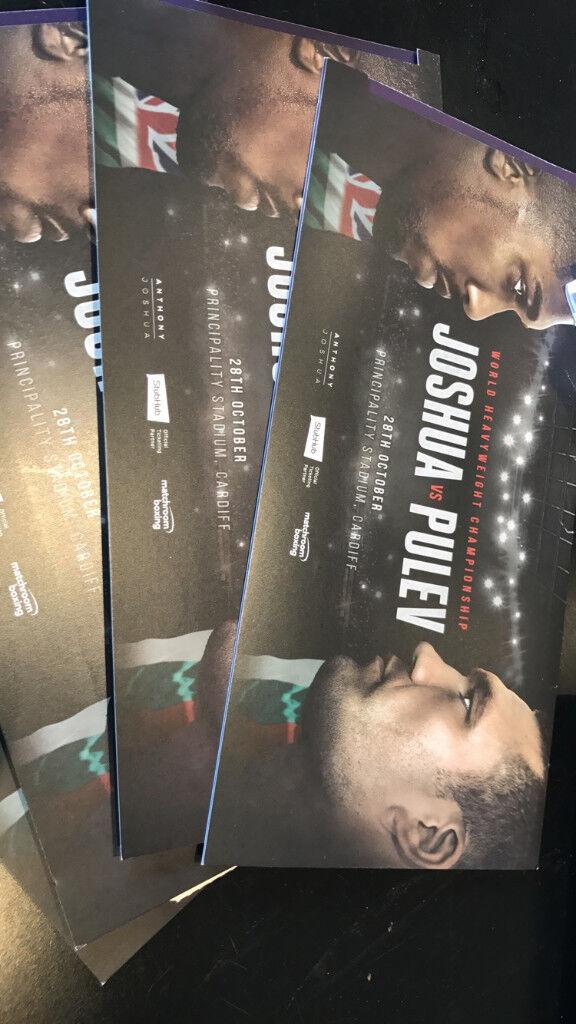 SUPER ANTHONY JOSHUA VS KUBRAT PULEV TICKETS FLOOR SEATS - CARDIFF 28.10.2017 - FACE VALUE