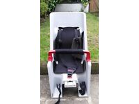 CoPilot toddler bike seat in grey and red with black seat to go on rear of adult bike