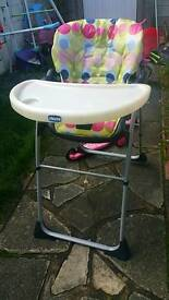 2 x Chicco happy snack high chairs