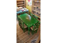Unique Green painted table and 6 chairs to match..barely used from closed down restaurant..CHEAP!!!!