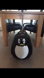 Child's penguin suitcase, pull along travel case , excellent condition, hardly used ,
