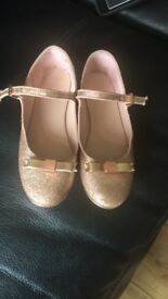 Ted Baker size 4 girls rose gold glitter party shoes