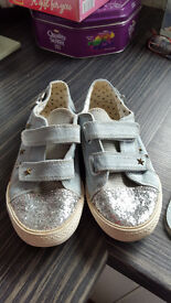 Girls denim trainers with glitter and studs.