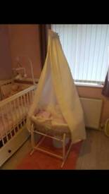 Clair de Lune moses basket and canopy