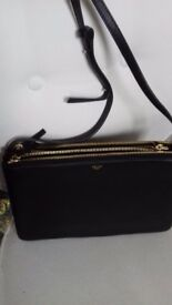 Celine classic black leather crossbody handbag with gold detail