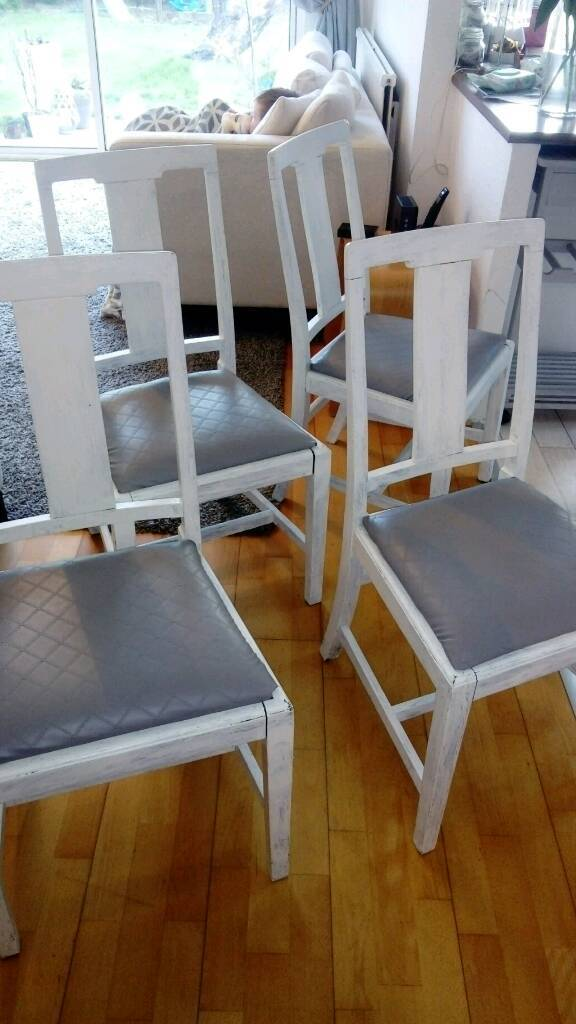 4 dining chairs with grey leather seats
