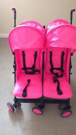 pink double pram