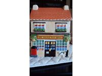 NOVELTY CERAMIC COOKIE JAR of VILLAGE POST OFFICE, USED BUT IN GOOD CONDITION, COLLECT FROM rm13