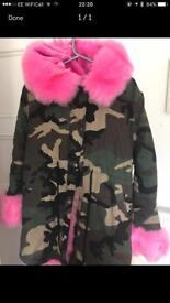 Pink Camo Fur Parka