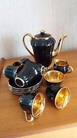 Wade black and gold leaf coffee set