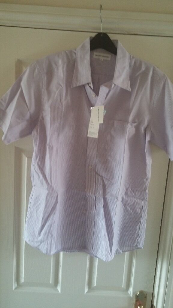 NEW - Uniqlo Mens Purple Stripe Short Sleeve Shirt Easy Care Dry Wear