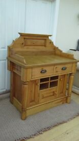 ANTIQUE PINE WAXED SIDEBOARD, KITCHEN DINING STORAGE UNIT, SALON TABLE / DESK