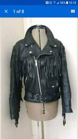 All Saints Style Black Leather Fringe Biker Jacket 12