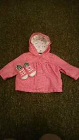 TU pink rain coat and matching pram shoes