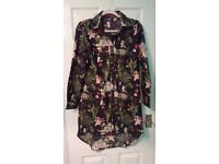 Boohoo Black Flowered Dress UK Size: 10