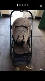 Grey oyster buggy and car seat
