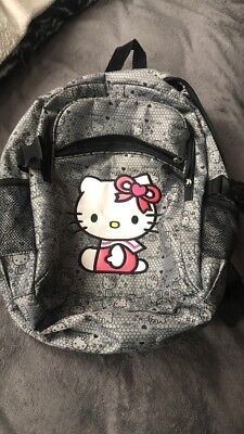 Black and gray hello kitty backpack 3 compartments (zippers) w/ laptop pouch. (Hello Kitty Backpack Black)