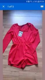 Red playsuit size 10