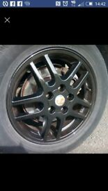 """4x 16"""" vauxhall alloys dipped in carbon fiber effect."""