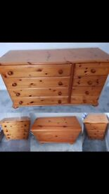 Set of bedroom furniture, good condition in solid pine not flat pack