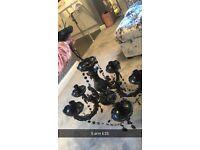 5 arm black chandelier