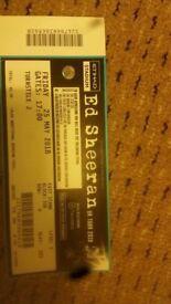 Ed Sheeran ticket. Etihad Stadium Manchester 25th May