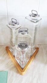 Vintage triangular storage jars.