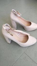 Size 5 blush shoes with ankle band