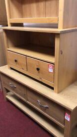 2 drawer wood TV unit - small