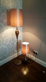 Brown crackled glass floor lamp and table lamp