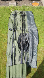 Carp rods and reels x4, including bag