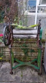 Vintage/antique mangle used for garden ornamentation