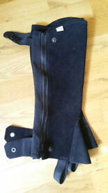 Horse Riding Half Chaps, black leather, size S