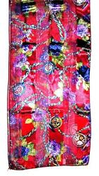 SCARF Red Background W/ Gold Olive Blue Purple White Floral FLOWERS & CLOCKS
