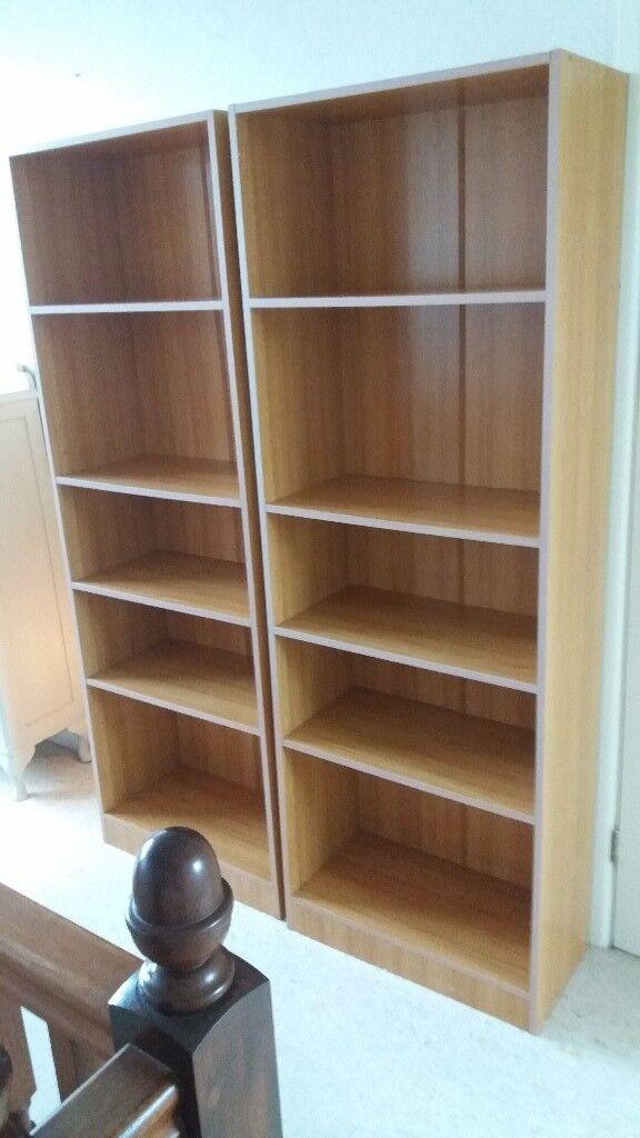 2 x wood effect book shelves