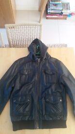 Men's leather hooded bomber jacket for sale