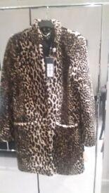 Karen Millen shearling & leather coat.