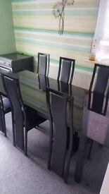Noir Extending Dining Table & 6 Black Upholstered Chairs
